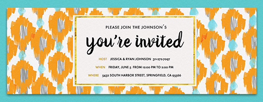 Ikat Orange Turq Invitation