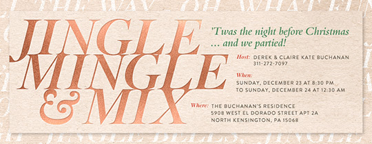 Jingle Mingle and Mix Invitation