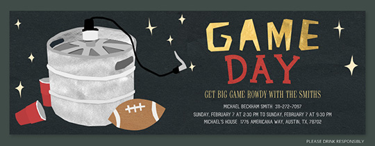 Keg and Football Invitation