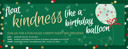 Kindness Balloon Holiday Invitation