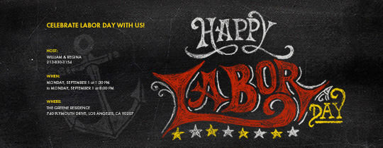 Labor Day Chalkboard Invitation