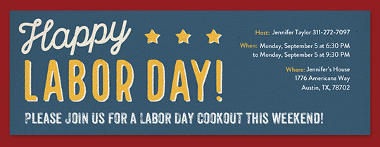 Labor Day Typography Invitation
