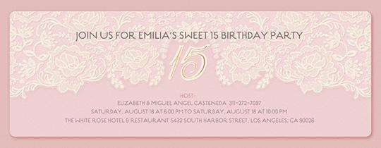 Lace 15 Birthday Invitation