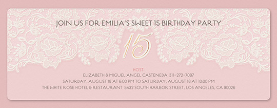 Lace 15 Birthday Invitation