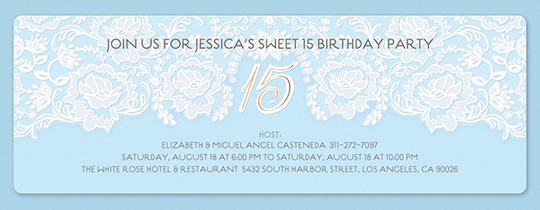 Lace 15 Birthday Blue Invitation