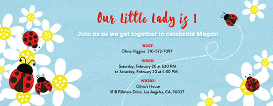 Ladybug Baby First Invitation