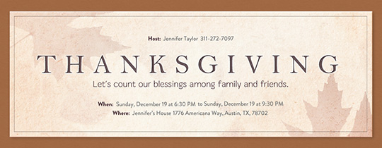 Leafy Thanksgiving Invitation