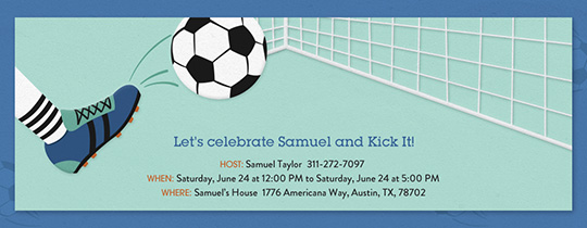 Let's Kick It Soccer Invitation