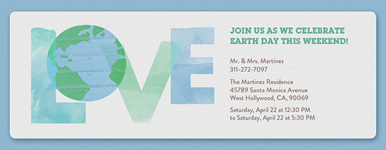 Love Earth Invitation