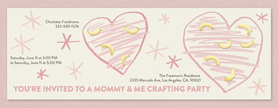 Macaroni Hearts Invitation