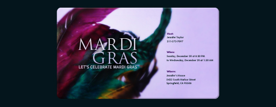 Mardi Gras Celebration Invitation