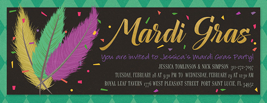 Mardi Gras Feathers Invitation