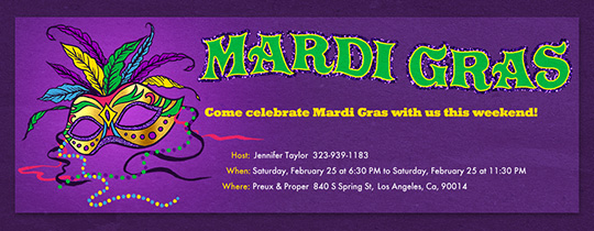 Mardi Gras Mask Invitation