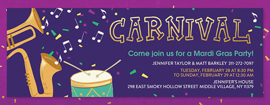 Mardi Gras Music Invitation