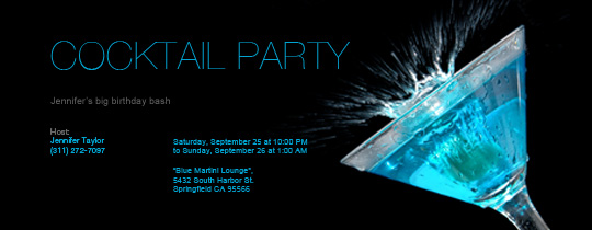 Martini Splash Invitation