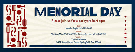 free memorial day online invitations evite