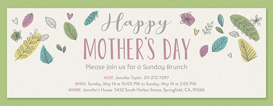 Mother's Day Leaves Invitation