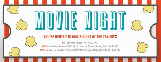 Movie night free online invitations movie night stripe invitation stopboris Images