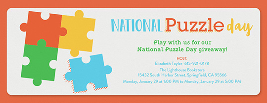 National Puzzle Day 1/29 Invitation