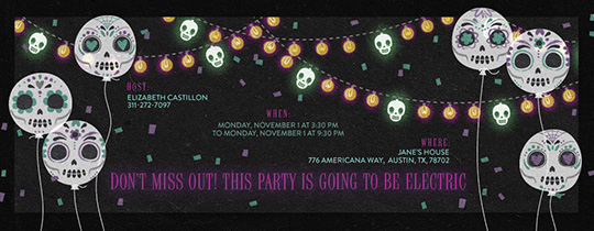 Neon Skull Party Invitation