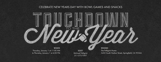 New Years Touchdown Invitation
