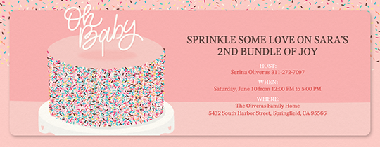 Oh Baby Sprinkle Cake Invitation