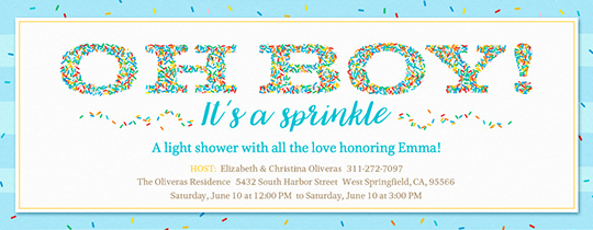 Oh Boy It's a Sprinkle Invitation