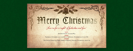 Old English Christmas Invitation