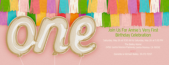 First Bday Balloons One Invitation