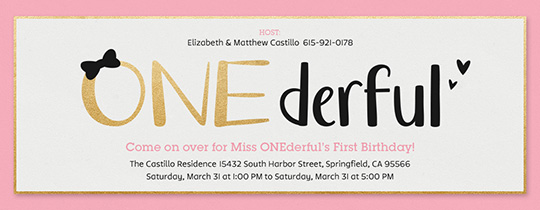 ONEderful Girl Invitation Free First Birthday Crown