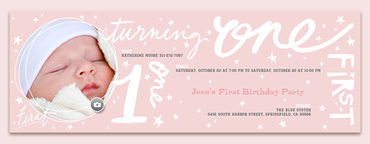 One Words Pink Invitation