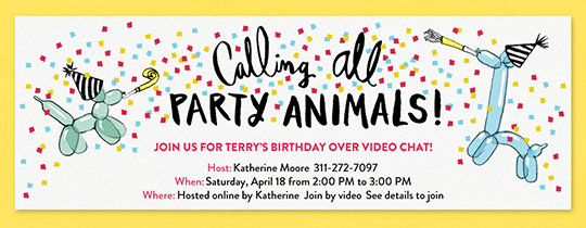 Party Animal Balloons Invitation