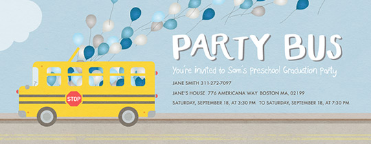 Party School Bus Invitation