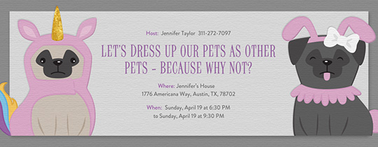 pet unicorn pug invitation
