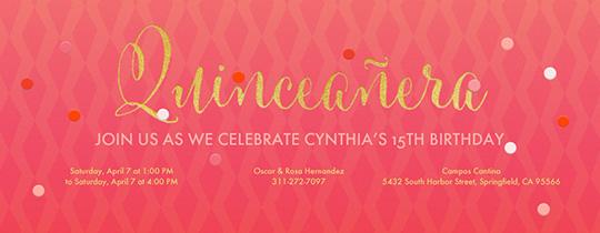 Pink Quinceañera Invitation