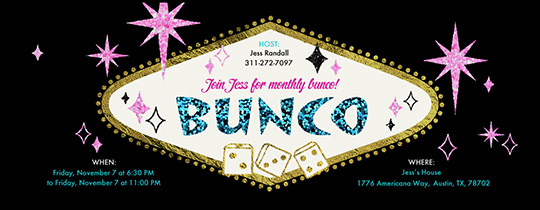 Pink Star Burst Bunco Invitation