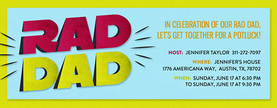 Rad Dad Neon Invitation