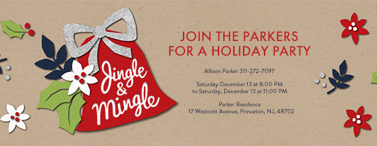 Red Jingle Bell Invitation