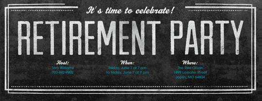 Retirement Chalkboard Invitation