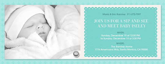 Scalloped Aqua Invitation