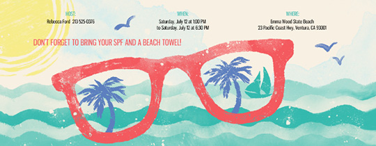 Free online beach party invitations evite shades of red invitation stopboris Choice Image