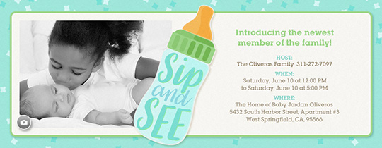 Sip and See Baby Bottle Invitation