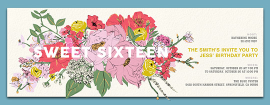 Sixteen Floral Invitation