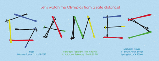 Skis and Poles Invitation