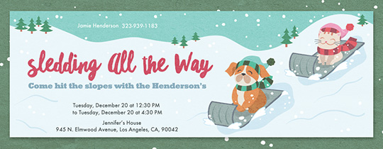 Sledding All the Way Invitation