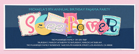 Sleepover Pillows Invitation