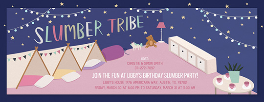 Slumber Party Tents Invitation