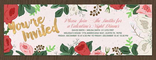 smell the roses valentines invitation
