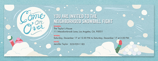Snow Ball Fight Invitation