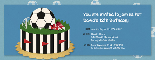 Soccer Birthday Cake Invitation